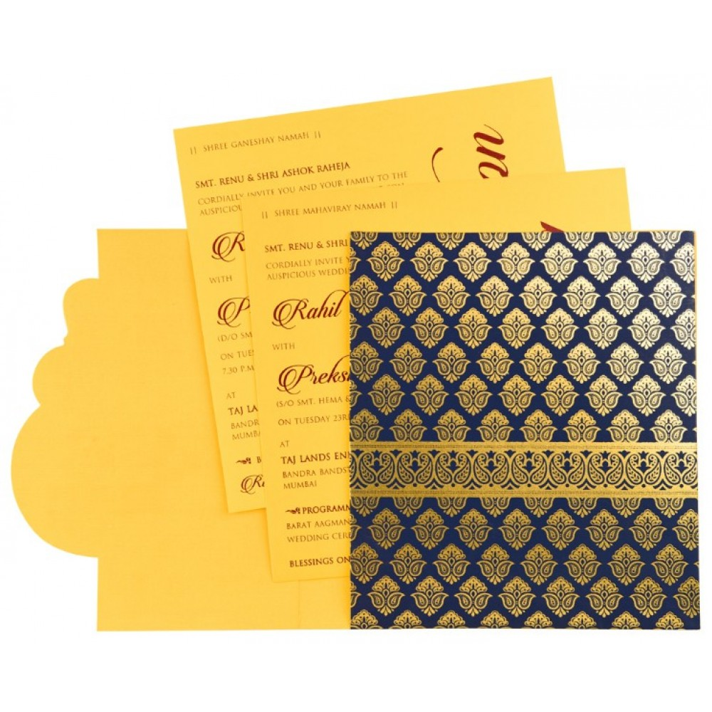 Designer Indian wedding invitation in yellow and royal blue - Click Image to Close