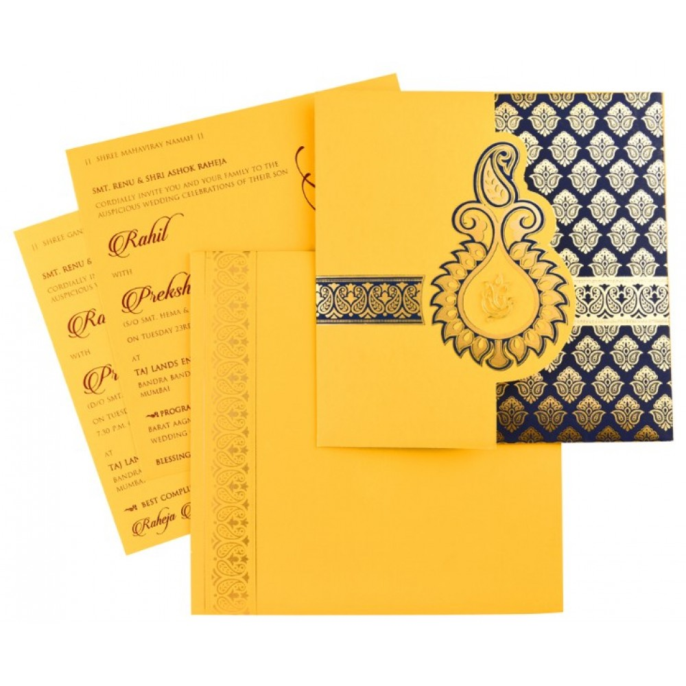 Designer Indian wedding invitation in yellow and royal blue