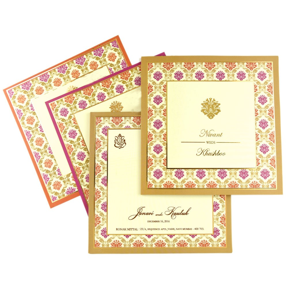 Designer Indian wedding invitation with orange and pink motifs