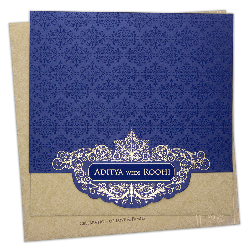 Designer Indian wedding invite in roya blue with motifs in self