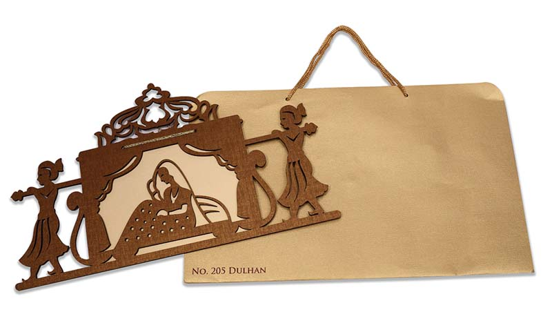 Designer laser cut cardboard invite with a doli/palanquin design - Click Image to Close