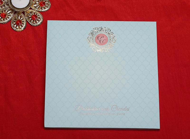 Designer Pastel Blue Indian Wedding Card with Royal Elephants - Click Image to Close