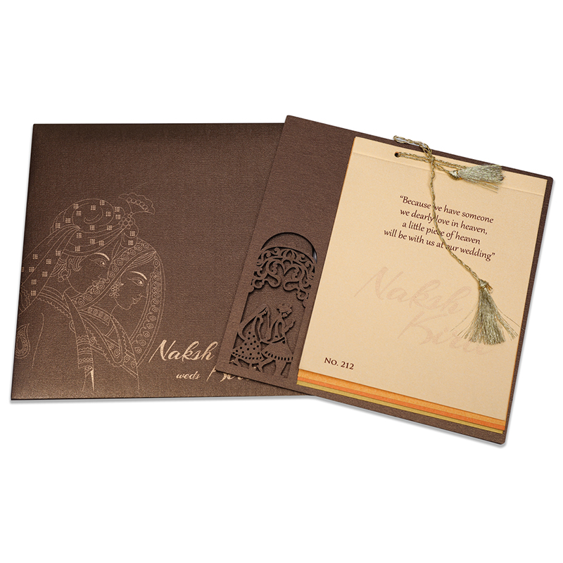 Designer Phera theme Indian wedding card in brown - Click Image to Close