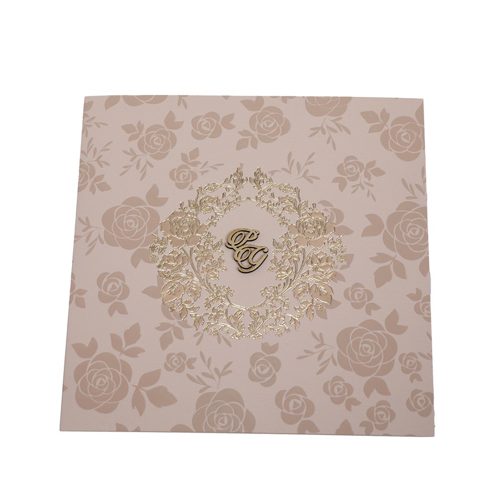 Designer rose theme wedding invitation in biscuit colour