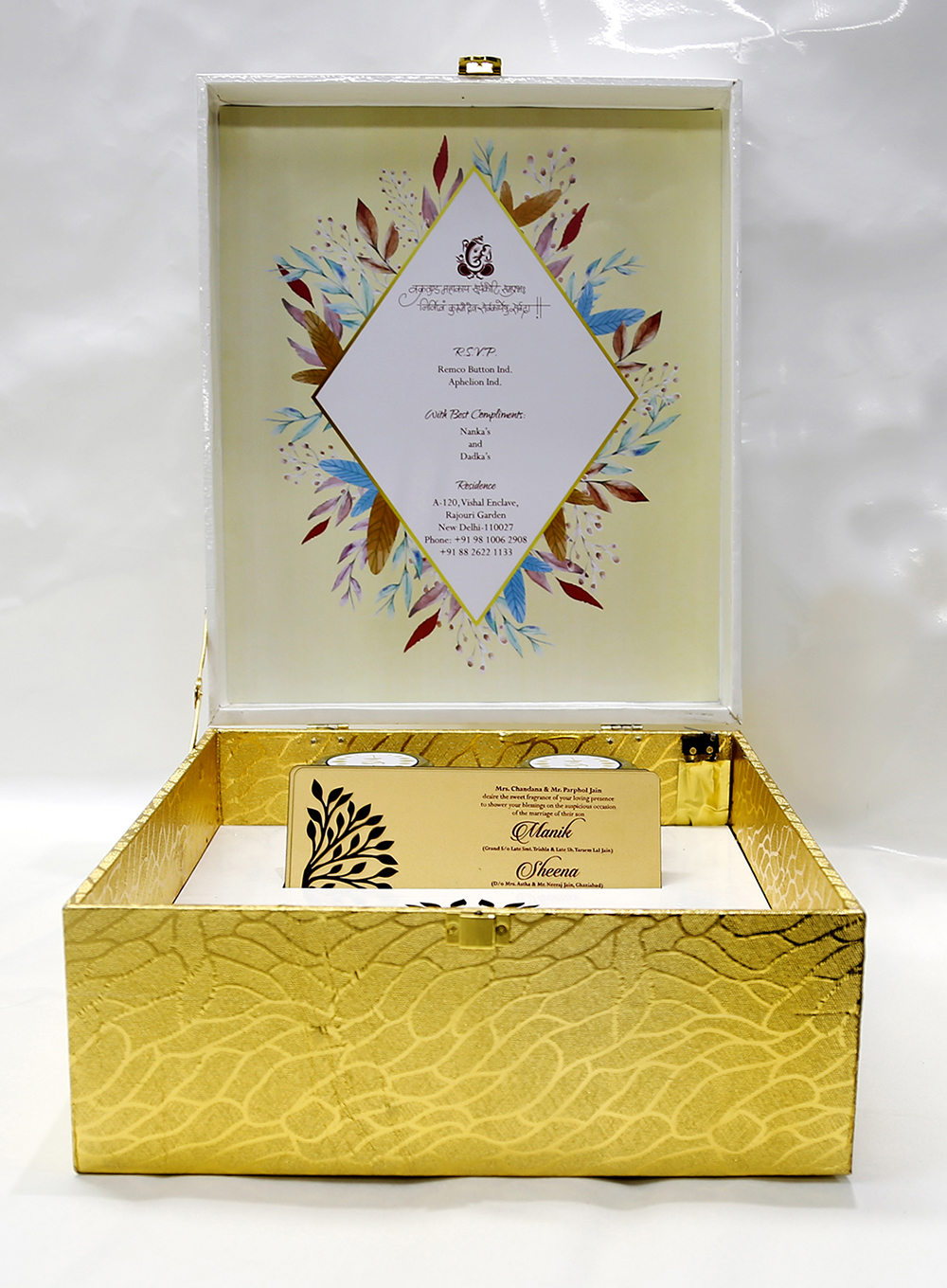 Designer tree of life wedding box card in white and golden
