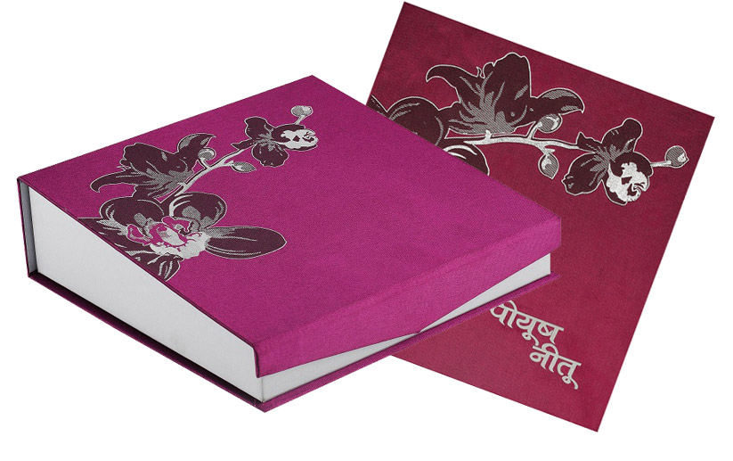 Indian Wedding Gift Card Box : Indian Designer Wedding Card Box in Violet Colour