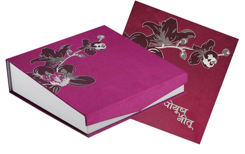 Designer Wedding Card Box in Violet Colour – Wedding Cards Boxes