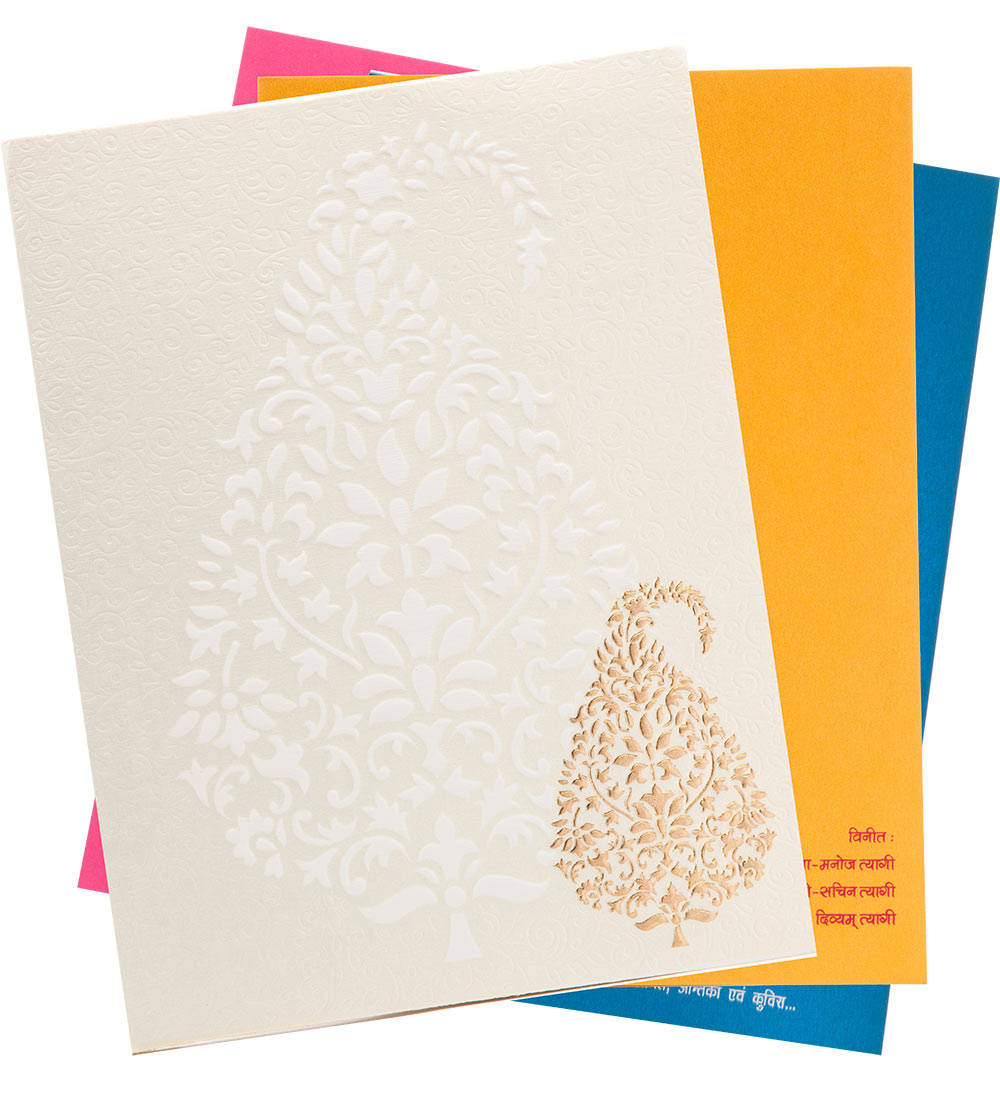 Designer Wedding Card In Embossed Paisley In White & Golden ...