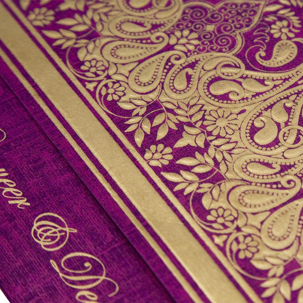 wedding invitation card in vibrant purple colour