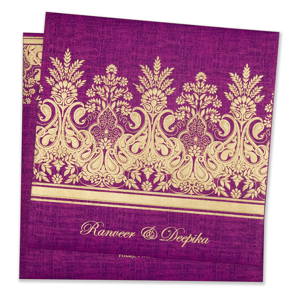Designer wedding invitation card in vibrant purple colour