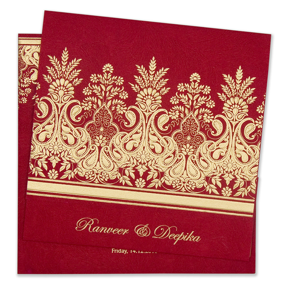 Designer wedding invitation card in vibrant red colour
