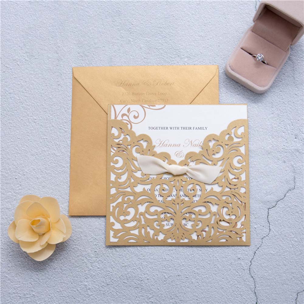 Elegant Brown Laser Cut Ribbon Bow Wedding Invitation