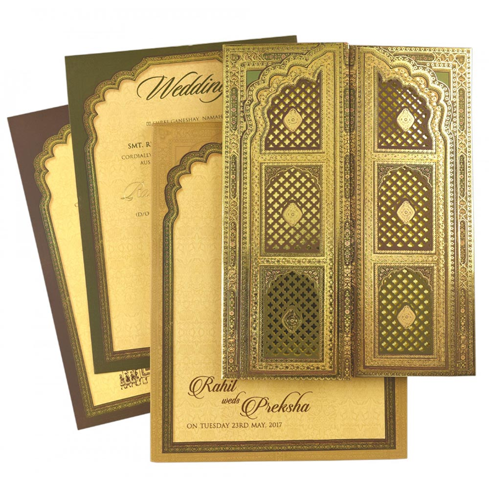 Elegant double door wedding invitation shades of royal green & gold