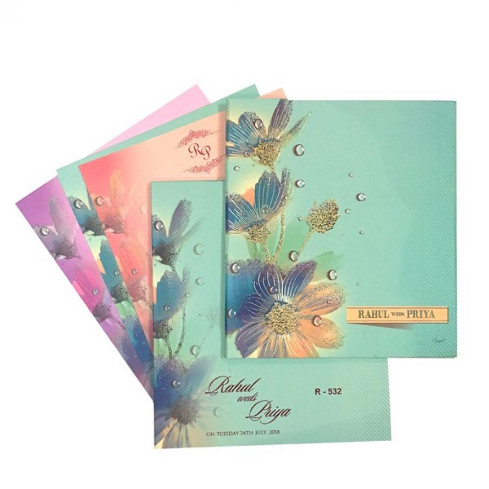 Elegant flower theme wedding invite fresh spring colours