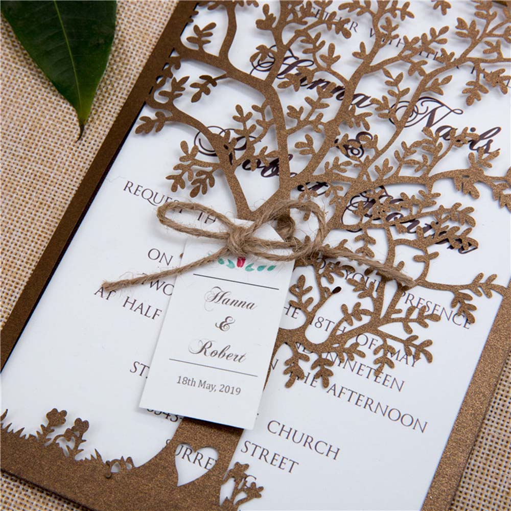 Elegant Tree Laser Cut Wedding Invitations in Brown colour with tag - Click Image to Close