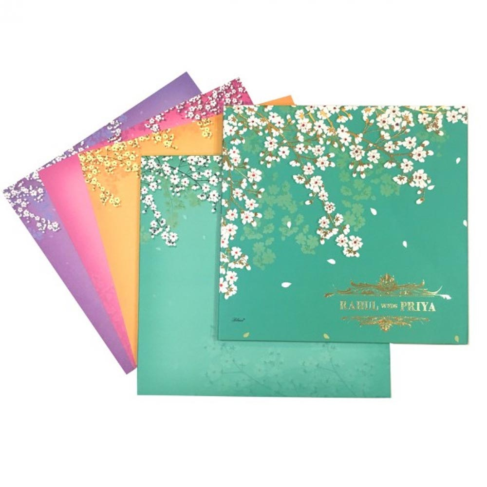 Elegant wedding invitation with multicolor inserts & beautiful white flowers