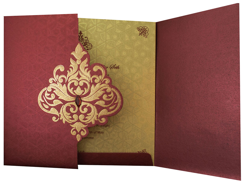 Wedding Invite in Maroon with Golden Patterns
