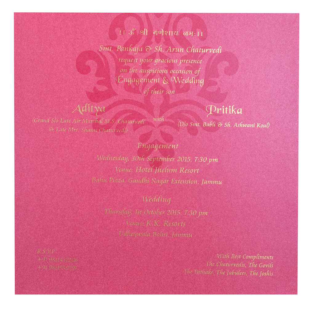 Exquisite Indian Wedding Card In Pink With Elephants Motifs