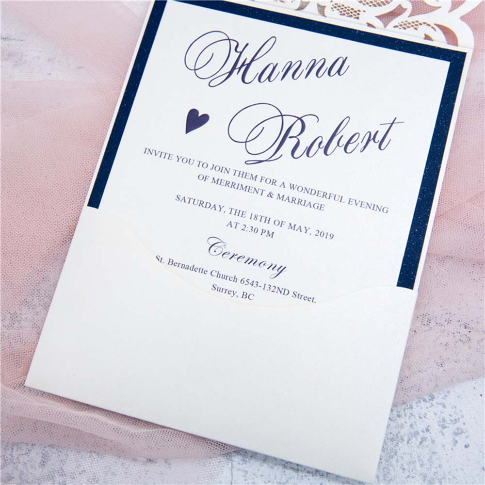 Exquisite Laser Cut White & Blue Pocket Wedding Invitation Cards with Rhinestone - Click Image to Close