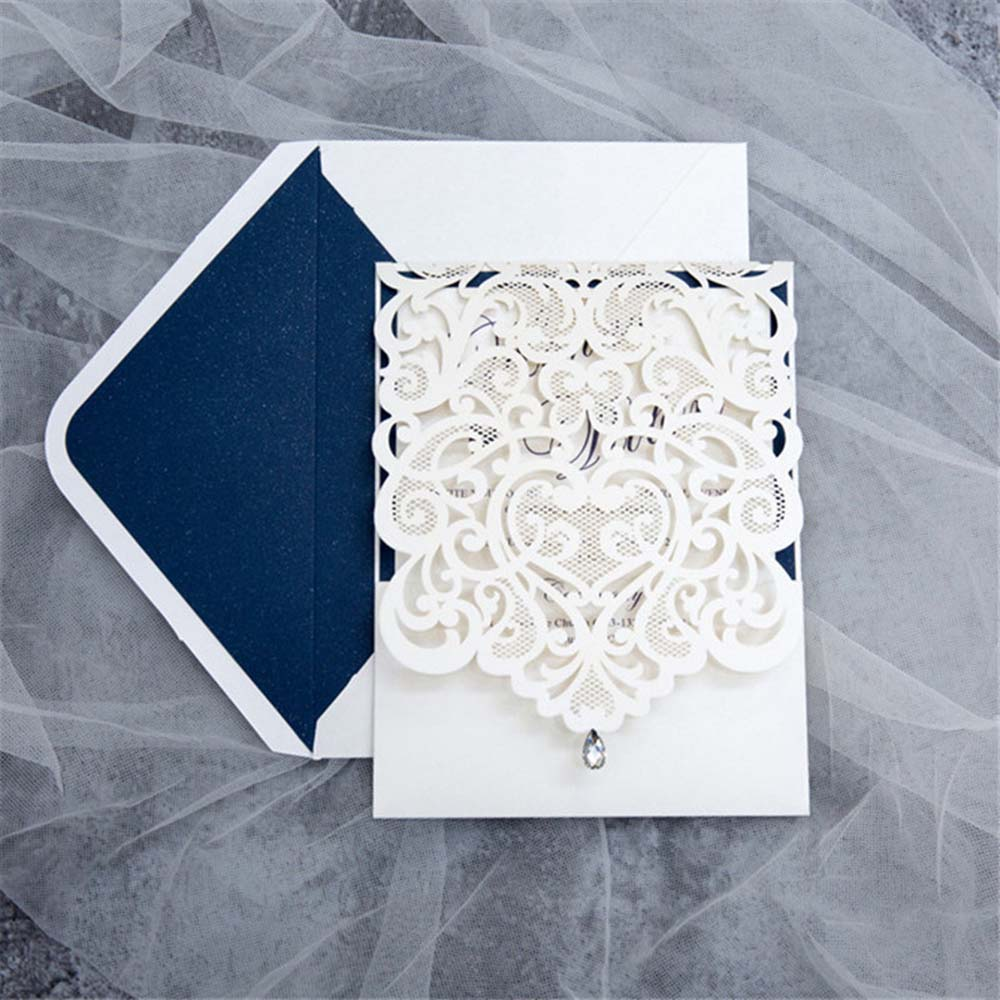 Exquisite Laser Cut White & Blue Pocket Wedding Invitation Cards with Rhinestone