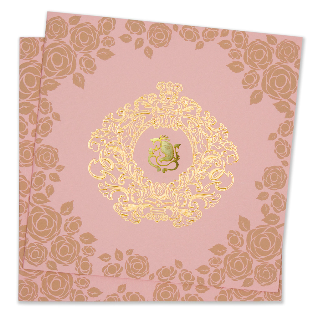 Floral hindu wedding invitation card in baby pink stopboris Image collections