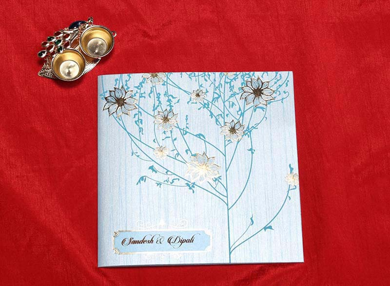 Floral Indian Wedding Cards in Light Blue with Flower Designs - Click Image to Close