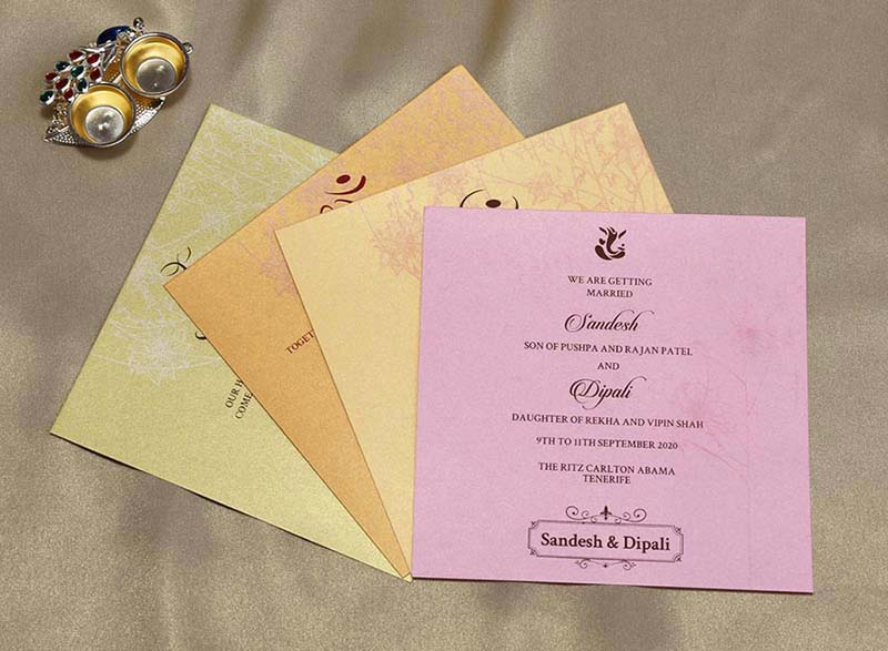 Floral Indian Wedding Cards in Light Pink with Flower Designs - Click Image to Close