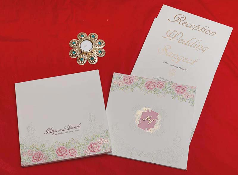 Floral Indian Wedding Invitation Card in Ivory Colour - Click Image to Close