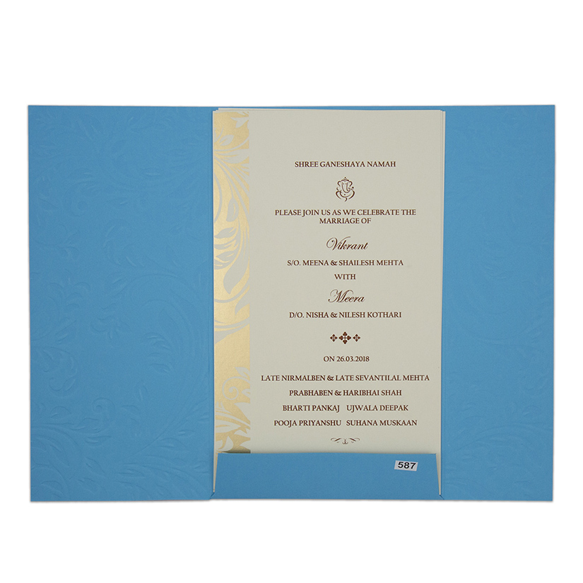 Indian wedding invitation card in shades of blue