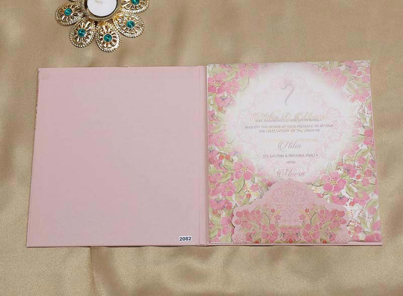 Floral Indian Wedding Invitation in Shades of Pink - Click Image to Close