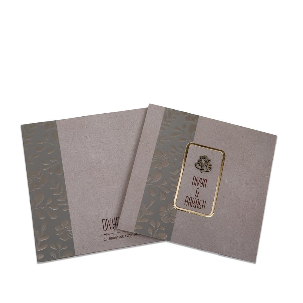 Floral themed Indian wedding invitation in slate brown colour