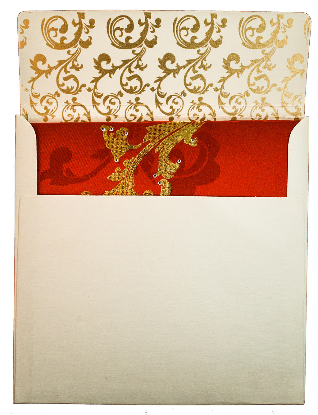 Floral themed wedding Invite in Red Satin