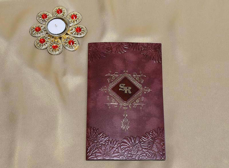 Floral Wedding Card in Chocolate Brown and Burgundy colour - Click Image to Close