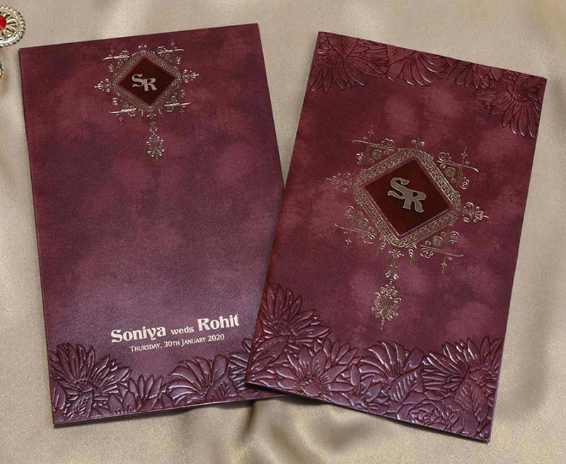 Floral Wedding Card in Chocolate Brown and Burgundy colour