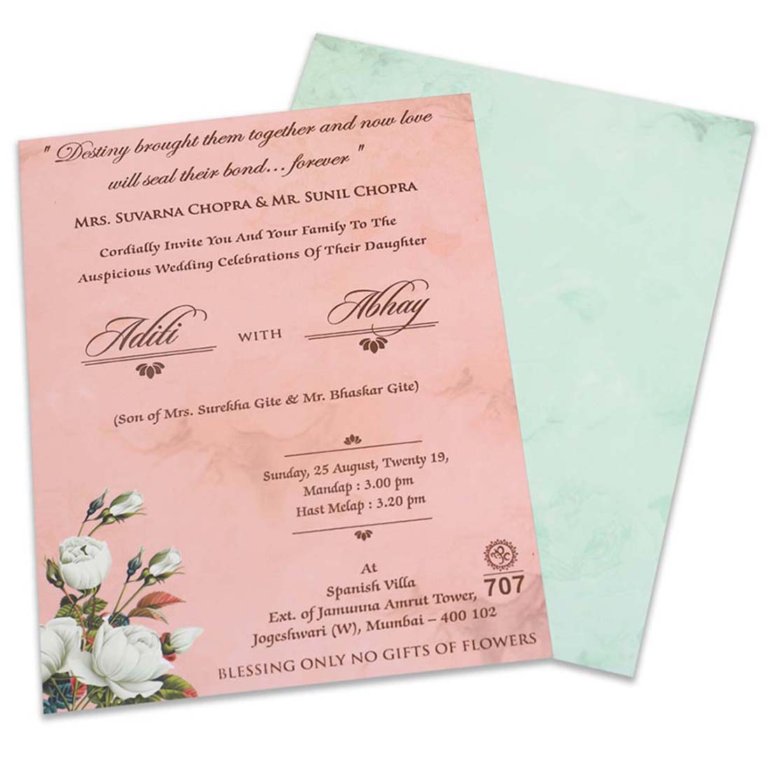 Floral wedding invite in pastel blue and pink - Click Image to Close