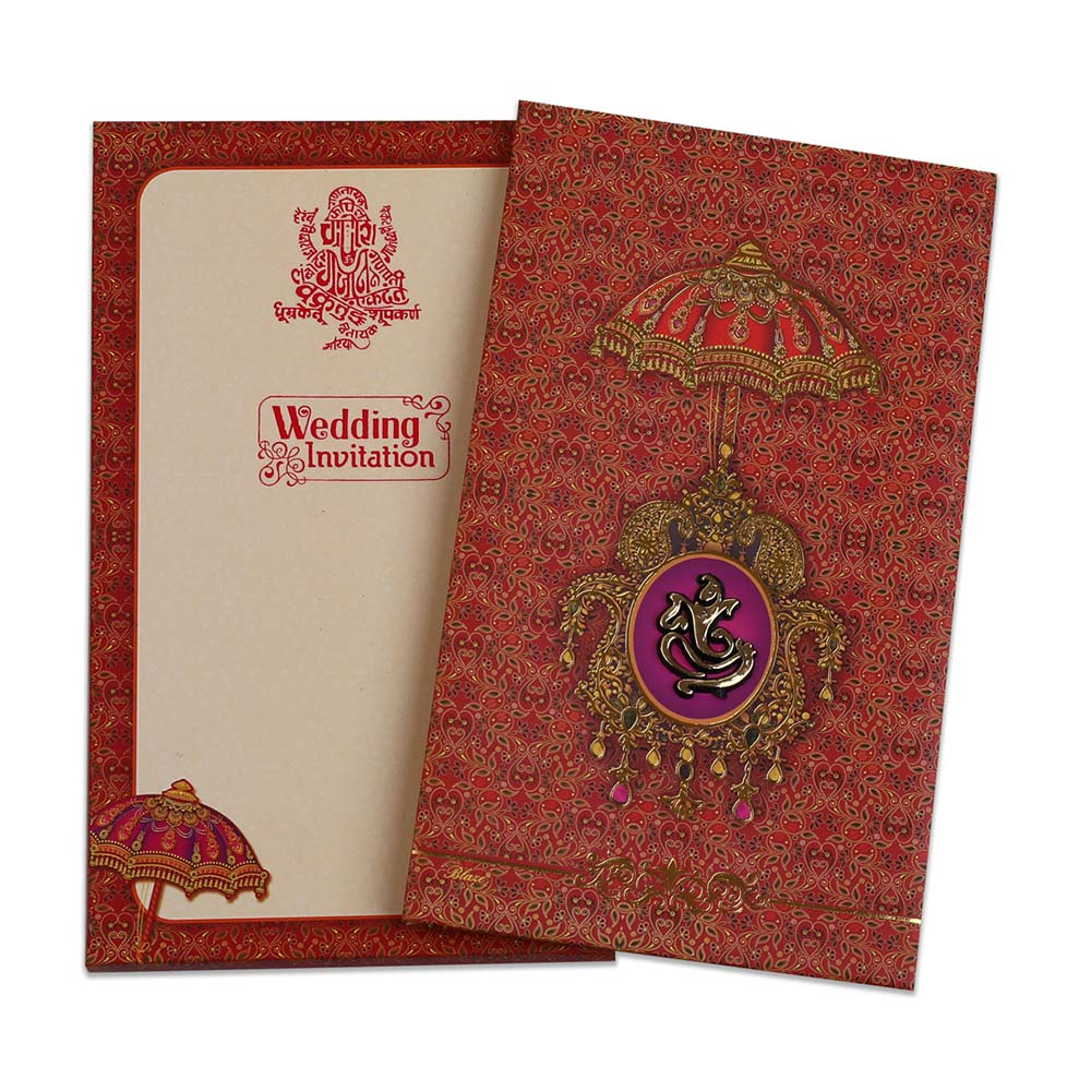 Four fold accordion wedding invitation in maroon colour with Ganesha image - Click Image to Close