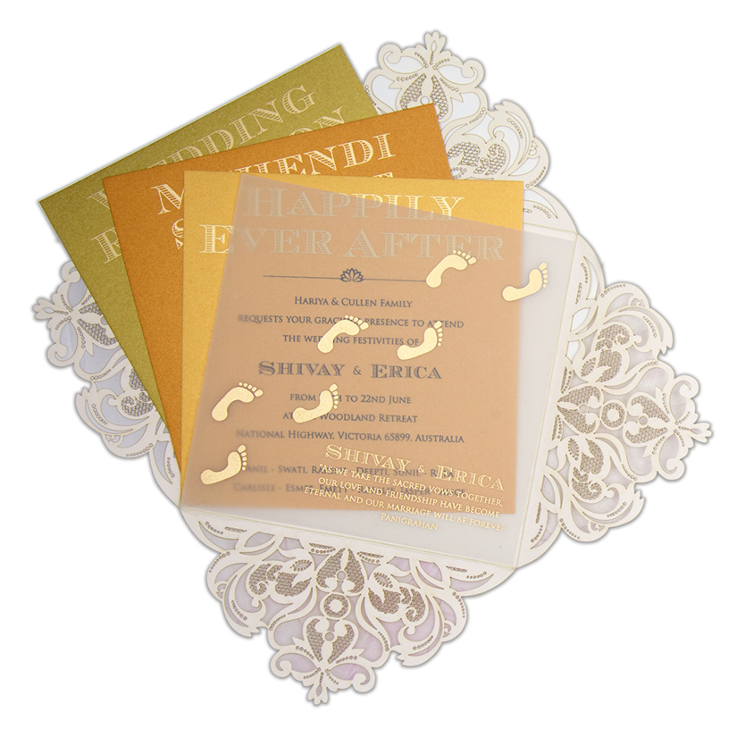 Four fold laser cut wedding invitation in Ivory colour - Click Image to Close