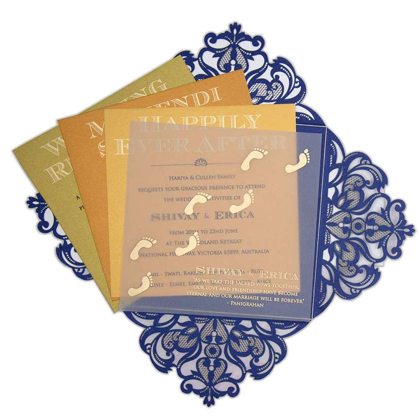 Four fold laser cut wedding invitation in royal blue colour - Click Image to Close