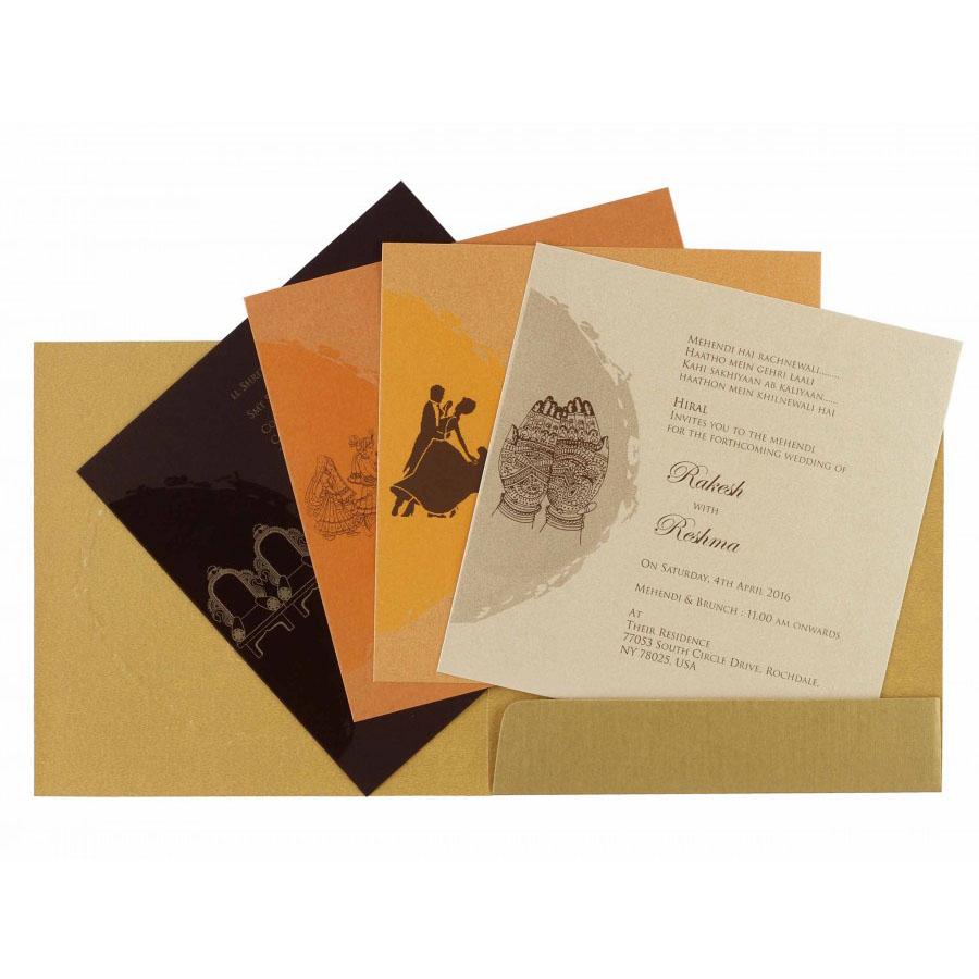 Ganesha Theme Hindu Wedding Invitation in Golden Color