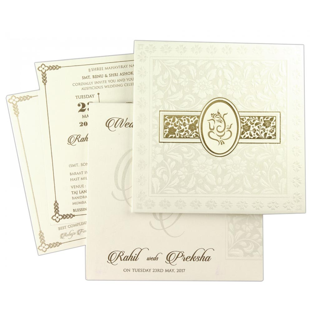 Ganesha theme hindu wedding invite in Ivory colour - Click Image to Close