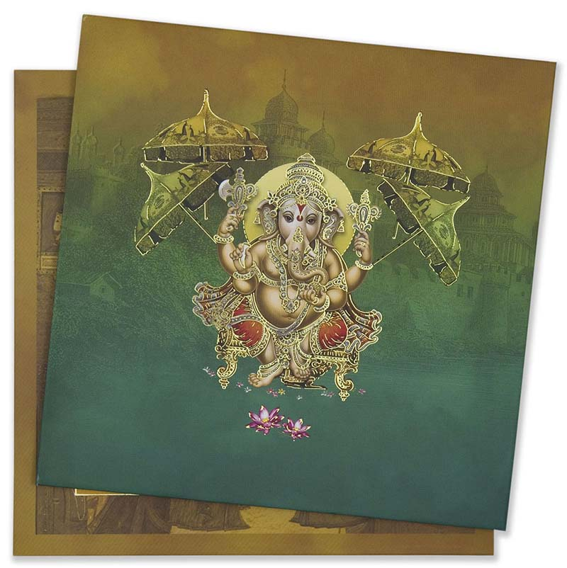 Ganesha theme hindu wedding invite with royal court scenes