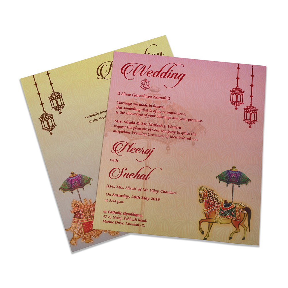 Ganesha theme Indian wedding card in orange colour - Click Image to Close