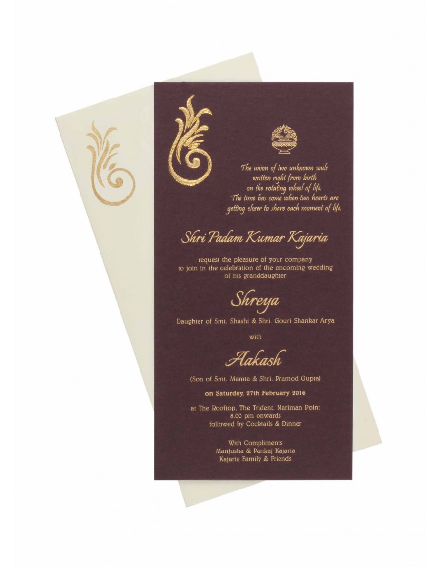 Ganesha Theme Wedding Card with Pull out Inserts in Dark ...