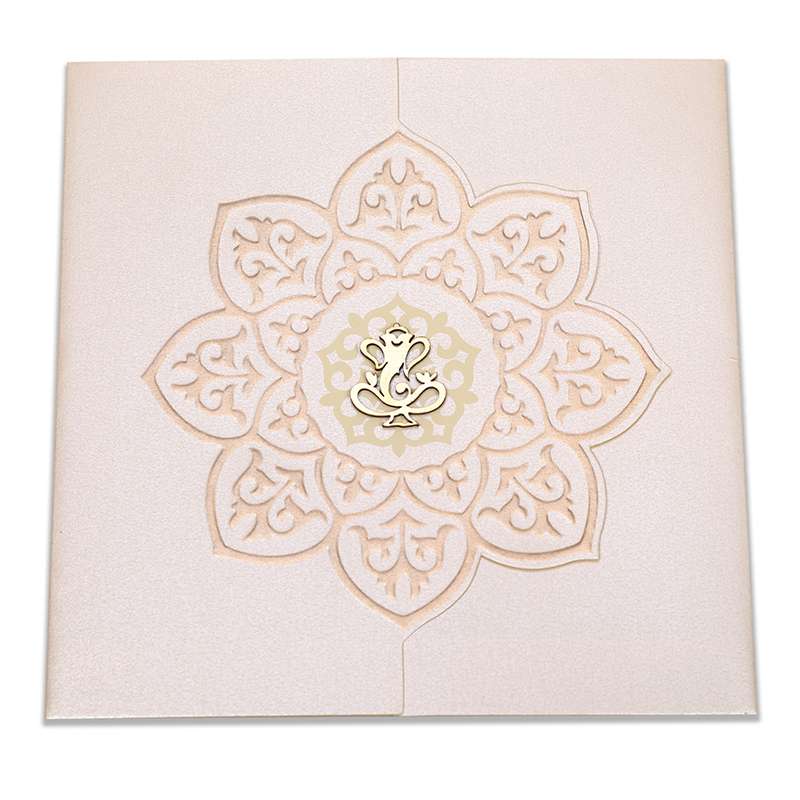 Ganesha theme wedding invitation in cream colour - Click Image to Close