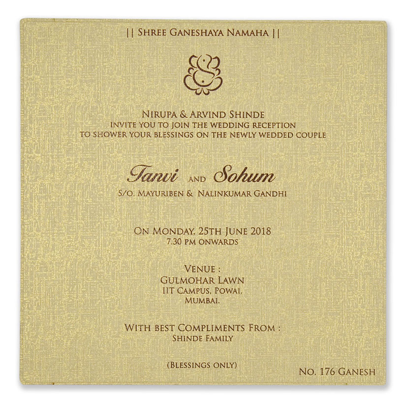 Ganesha themed laser cut invite in parchment colour
