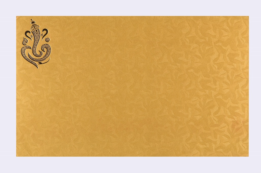 Ganesha Wedding Card in Golden Yellow Colour