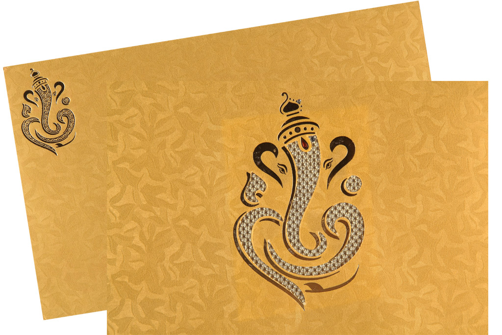 Ganesha Wedding Card in Golden Yellow Colour