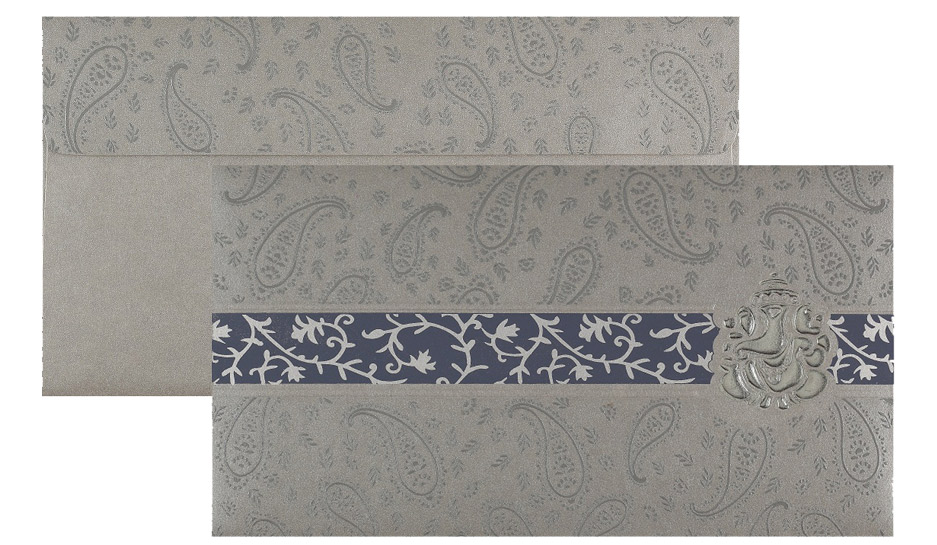 Ganesha Wedding Card in Silver Grey & Blue Paisley Design
