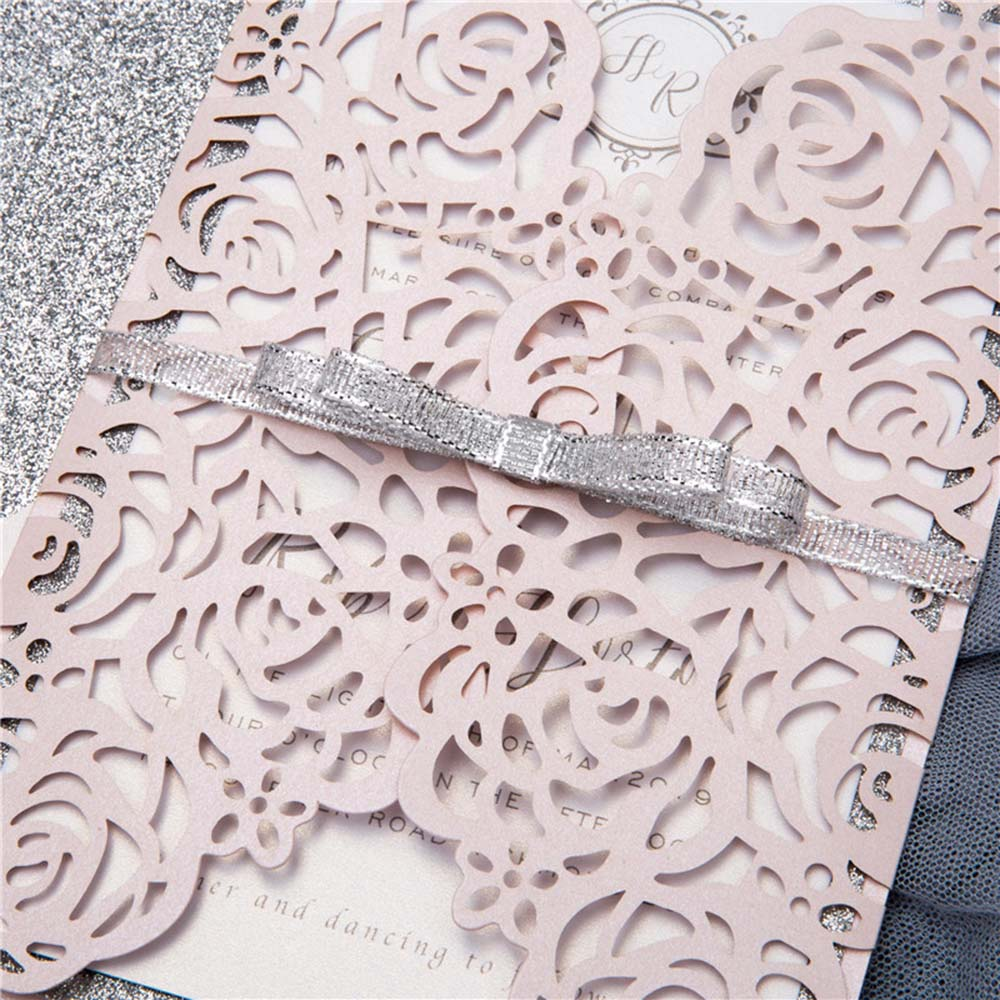 Gate fold wedding invitation in blush and silver shimmer - Click Image to Close