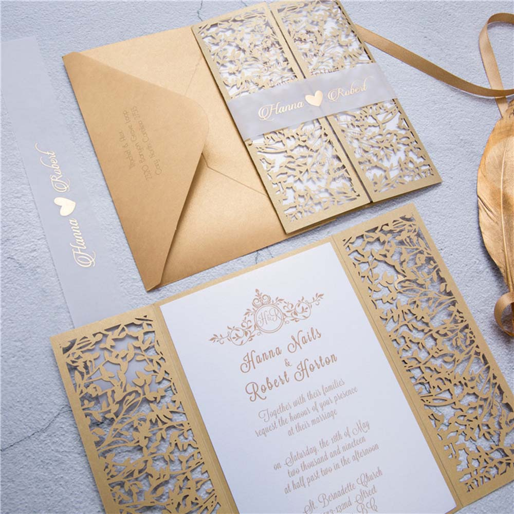 Gate fold wedding invitation in golden colour with a mesh of leaves - Click Image to Close